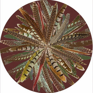 Round Pheasant Feathers Placemat
