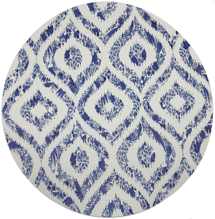 Royal Delft Ikat White Round Pebble Placemat