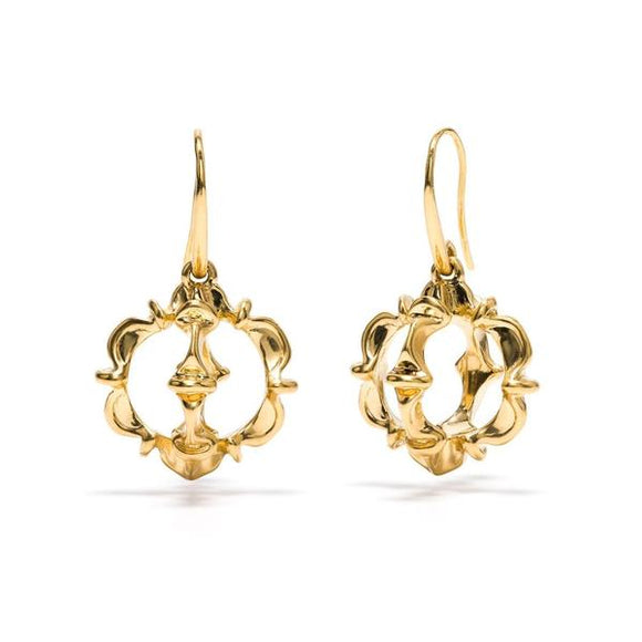 Ruffle Urchin Earrings in Gold
