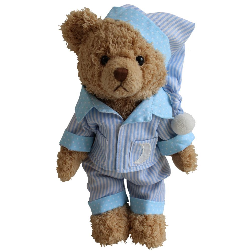 Teddy Bear With Blue Striped PJs and Night Cap