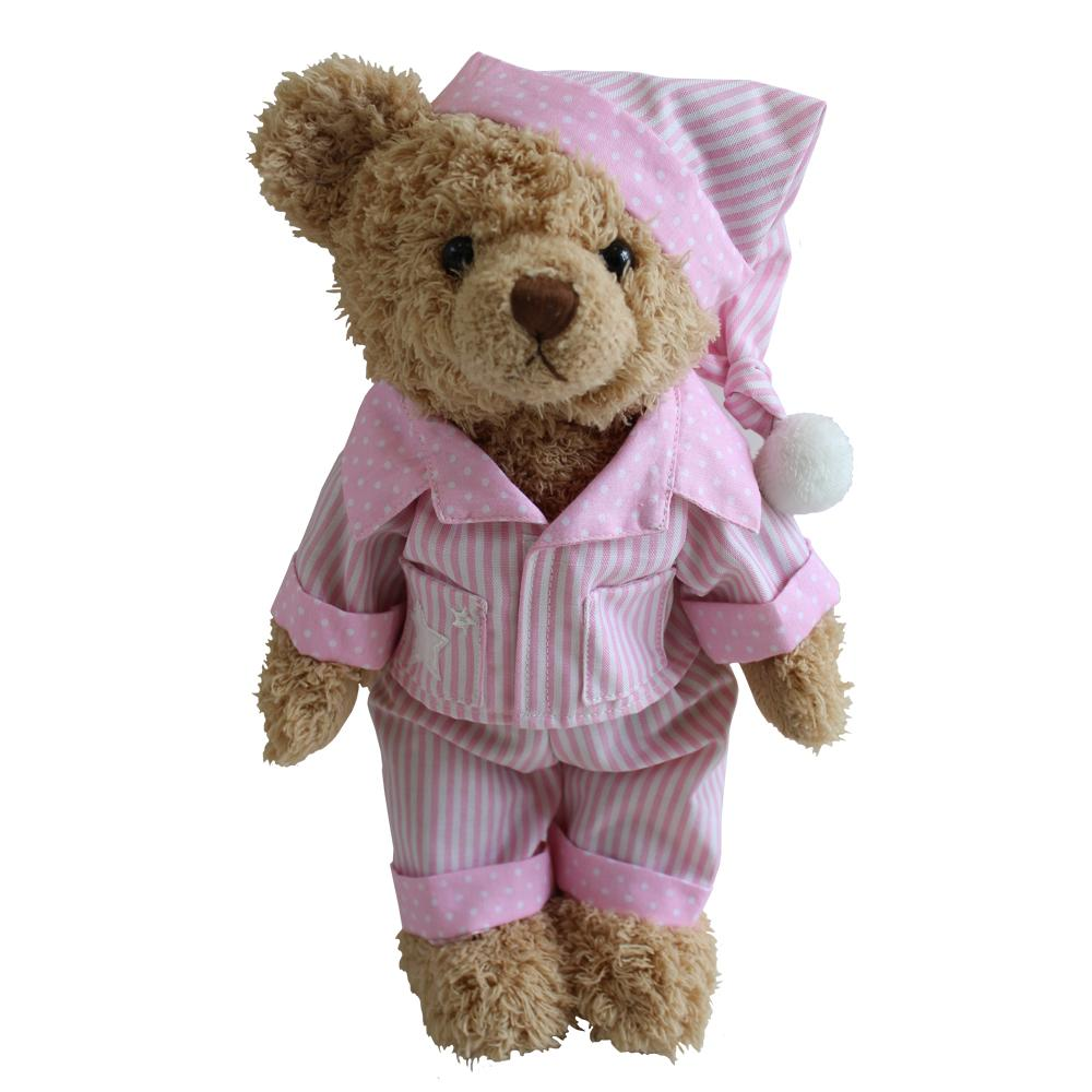 Teddy Bear With Pink Striped PJs and Night Cap