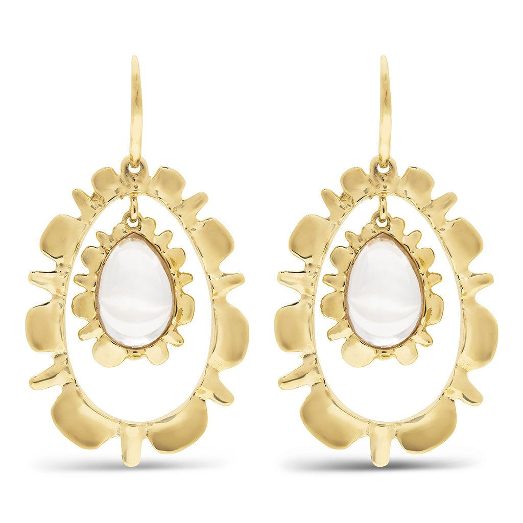 Bliss Ruffle Drop Earrings, w/ Floating Drop Clear Quartz