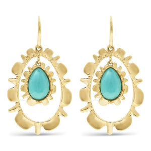 Bliss Ruffle Drop Earrings w/ Floating Turquoise