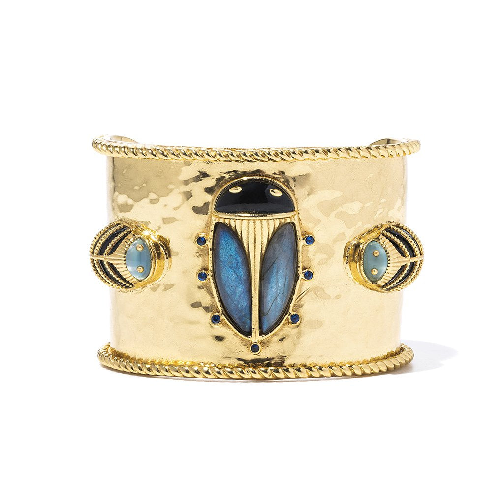 Scarab Night Cuff, Blue Labradorite & Black Agate