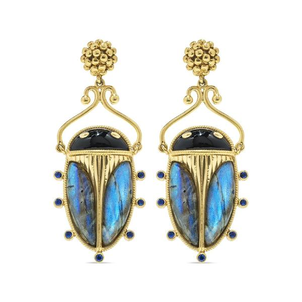 Scarab Night Berry Drop Earrings, Blue Labradorite & Black Agate