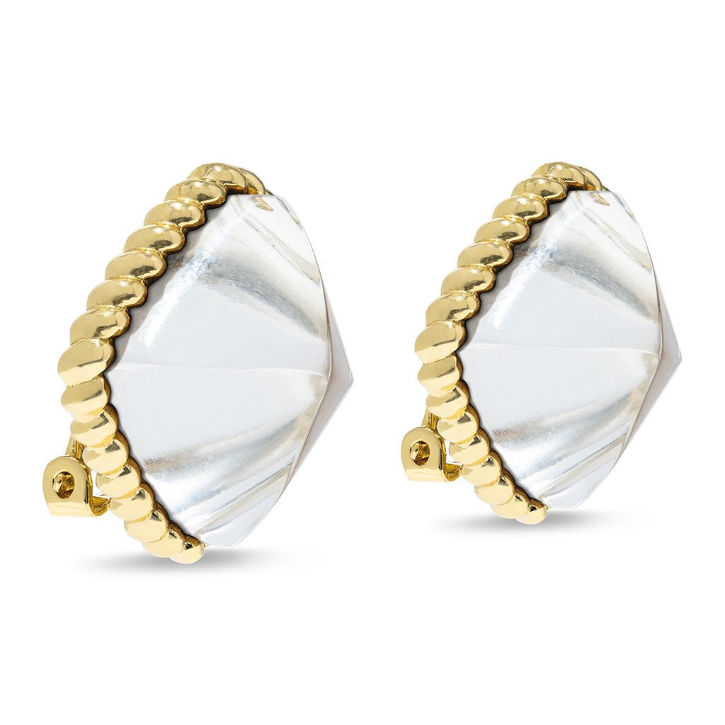 Blandine Clip Earrings in Crystal