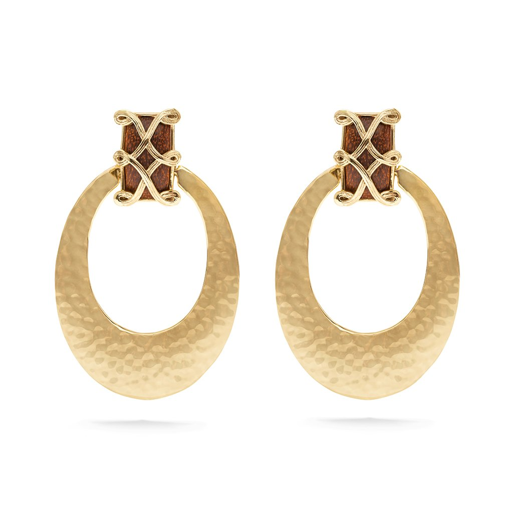 Estella Earrings, Teak/Gold