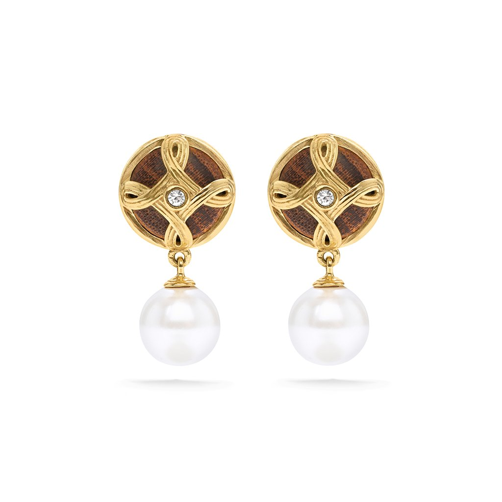 Monique Drop Earrings, Pearl/Teak
