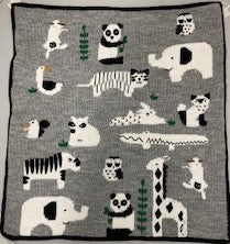 Panda Bear Land Blanket, Grey