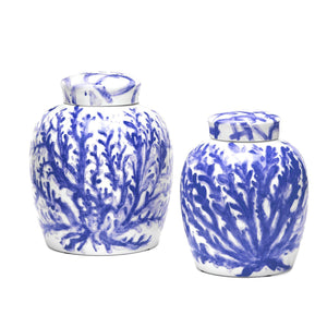 Blue Corals Ginger Jar Porcelain Small