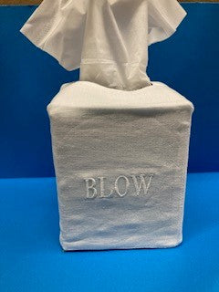 BLOW Tissue Box Cover Plain White, Linen