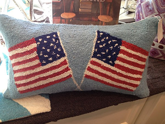 Double American Flag Pillow