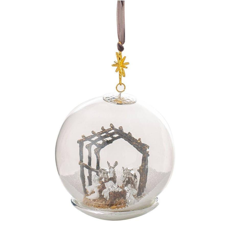 Manger Snow Globe Ornament