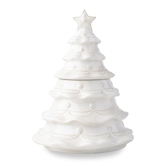 Christmas Tree Cookie Jar B&T Whitewash