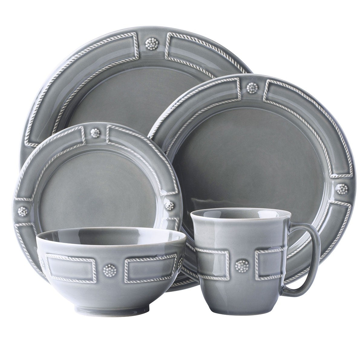 B & T French Panel Stone Grey Dinnerware