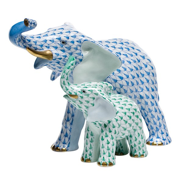 Mother & Baby Elephant, BLUE