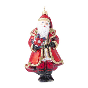 B&T Red Santa Glass Ornament