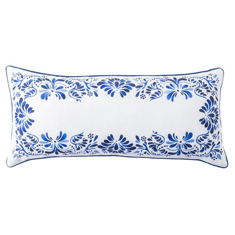 "Iberian Journey 12"" x 27"" Pillow, Indigo"