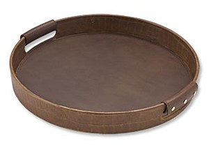 Round Leather Tray, Brown Crocodile