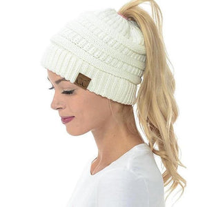 Soft Knit Ponytail Beanie Hat