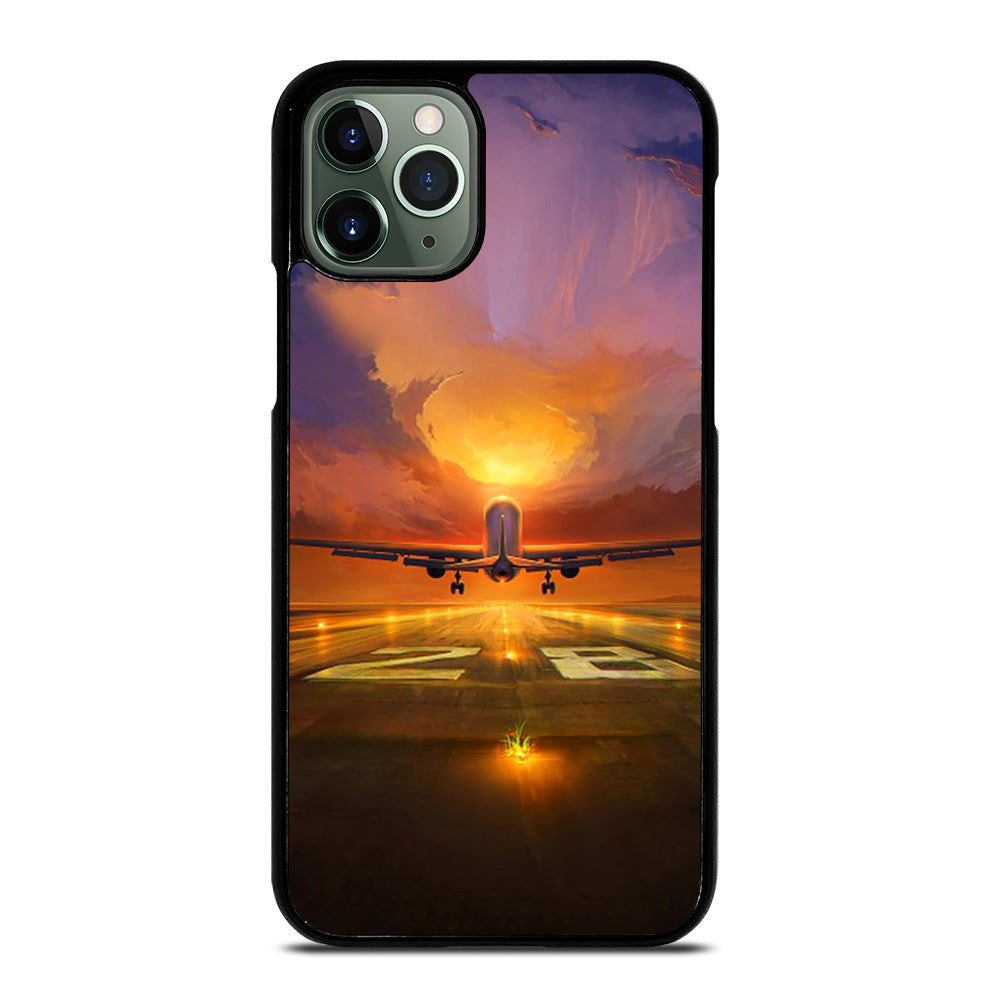 AIRPLANE TAKE OFF SUNSET iPhone 11 Pro Max Case