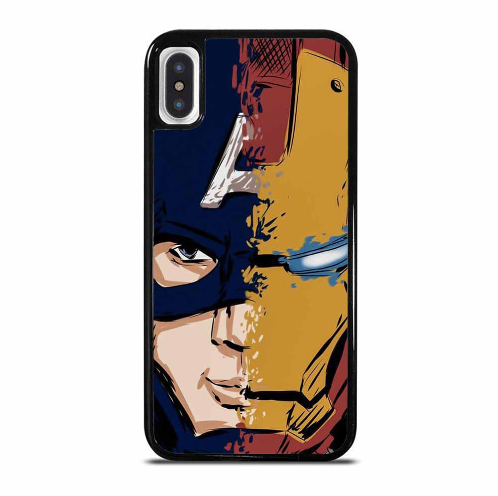 CAPTAIN AMERICA FT IRON MAN 6/6S 7 8 Plus X/XS Max XR 11 Pro Case
