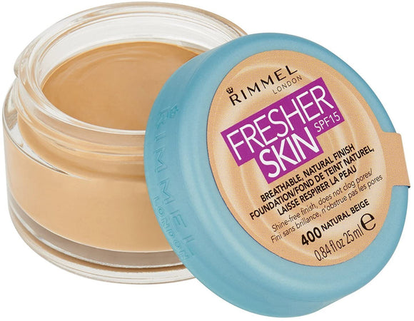 Rimmel Fresher Skin Foundation 25ml 400 Natural Beige - The Golden Galleria