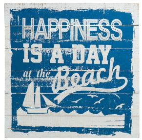 Houten tekstbord: happiness is a day at the beach