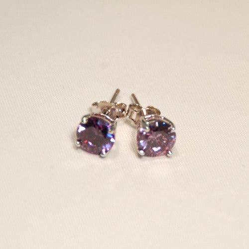 CZ Studs- 4 Claw, Birthstone Colors