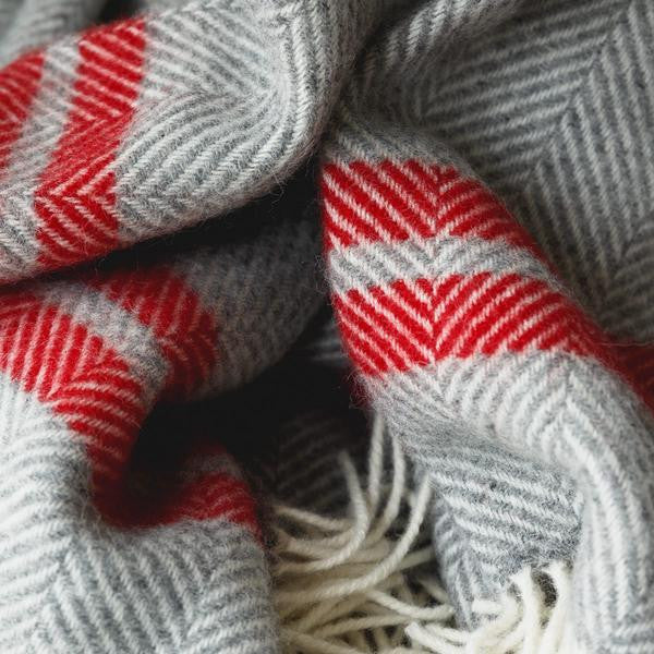 British Made Herringbone Red Stripe Throw