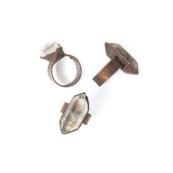 Smokey Raw Crystal Ring