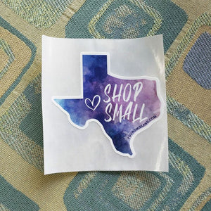Shop Small TX Watercolor Sticker