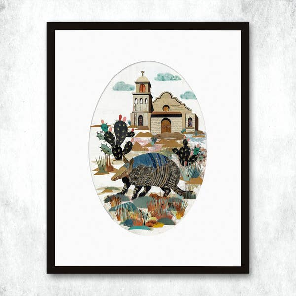 Dolan Geiman Signed Print Armadillo at the Mission
