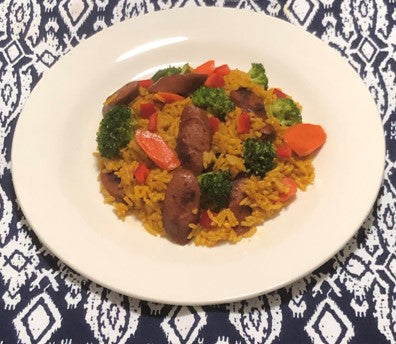 Hot Sausage with Broccoli, Carrots and Yellow Rice