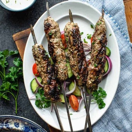 Grilled Spiced lamb skewers, Turkish babaganoush, Turkish Cacik
