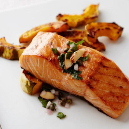 Roasted Salmon with squash and fregola risotto