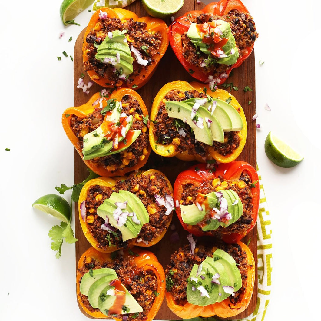 Healthy Mexican style quinoa stuffed peppers