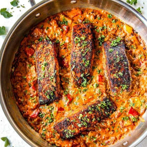 New Orleans Style Cajun Salmon with Creole Style Sweet Pepper Ragu