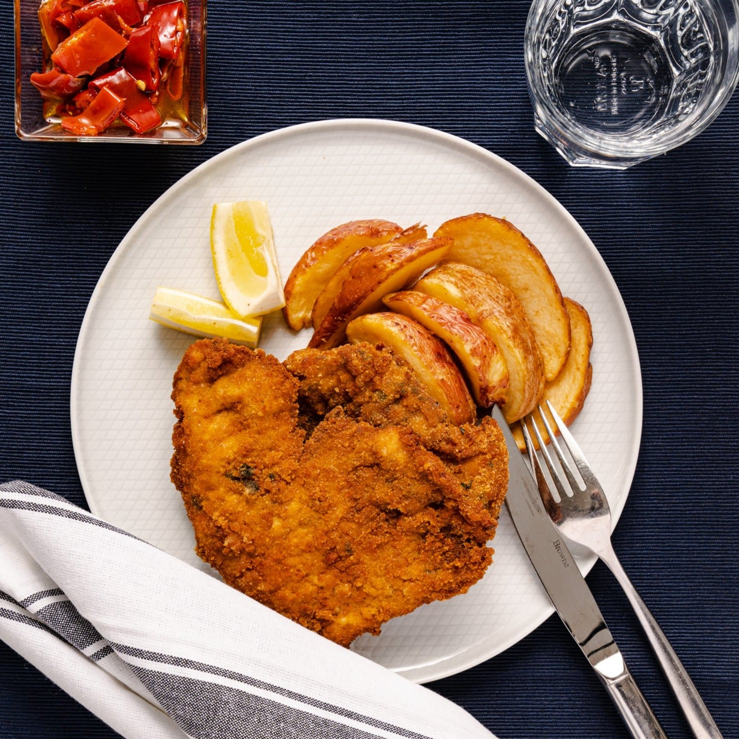 Crispy Milanese Chicken with Roasted Potato Wedges