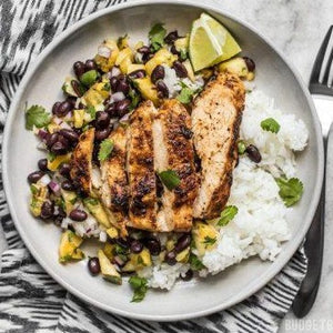 Jerk chicken with black beans and rice