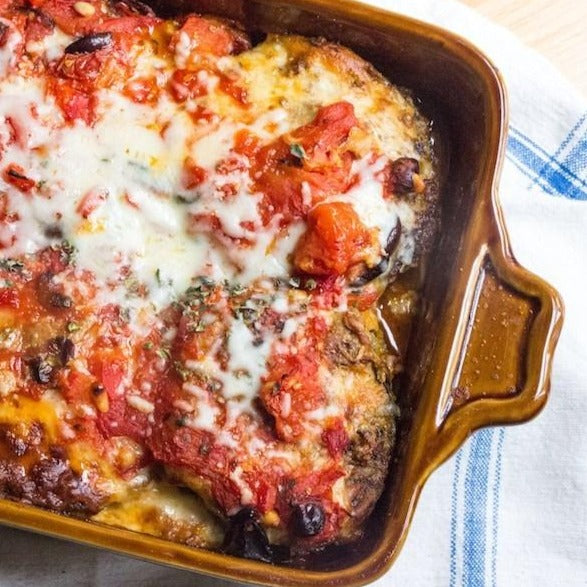 Summer eggplant parmigiana with fontina and basil pesto