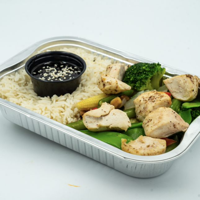 FIT MEAL : Chicken bites served with steamed vegetables and rice