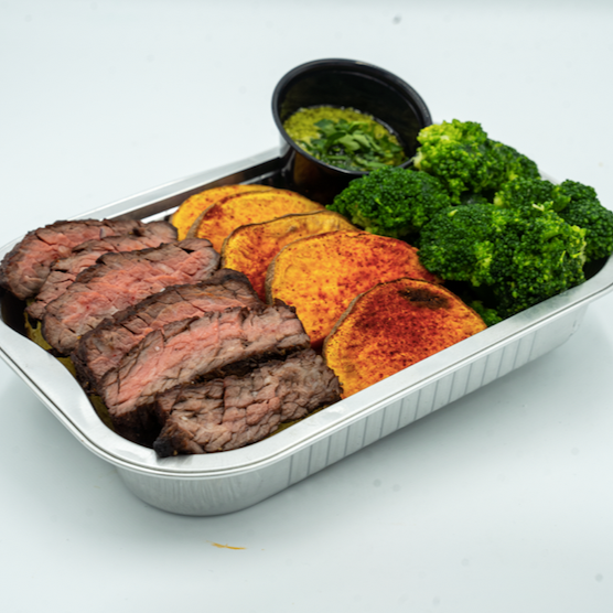 FIT MEAL: Grilled beef steak with sweet potato and broccoli