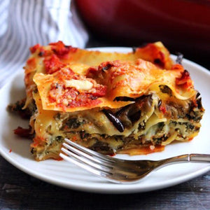 Tomato Lasagna, fresh mozzarella and swiss chard pesto (2 portions)
