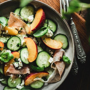 Quebec Greens, Cucumber and Peaches Salad