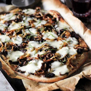 Potato caramelized onion and buffala mozzarella Pizza