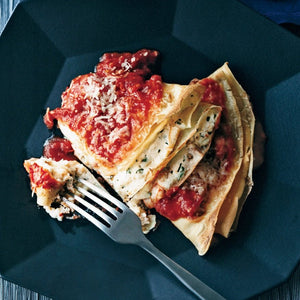 Crespelle stuffed with Ricotta, Sweet Corn, Speck, Fantina with Chunky Confit Tomato Sauce