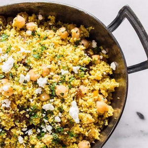 Moroccan couscouse with harissa and chickpeas