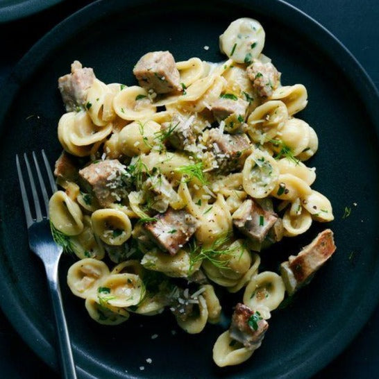 Orecchiette with sausages, fennel and clams