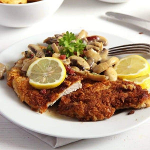 Chicken Schnitzel with Mushroom sauce, and sweet onion and bacon spätzle